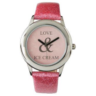 Amor y helado reloj de mano