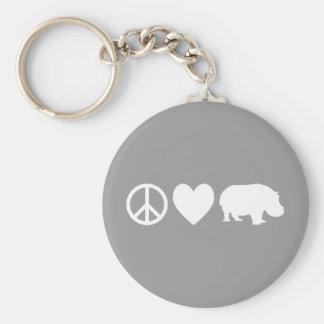 Amor y hipopótamos de la paz llavero redondo tipo pin