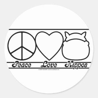Amor y hipopótamos de la paz pegatinas redondas