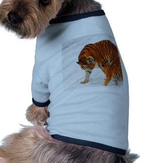 amor y joyce de la mamá de los tigres siberianos camiseta de perro