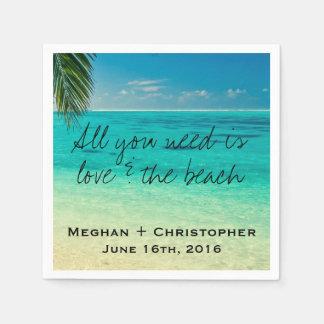 Amor y las servilletas del boda de playa servilleta desechable