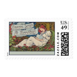 Amor y lectura de la paz sellos postales