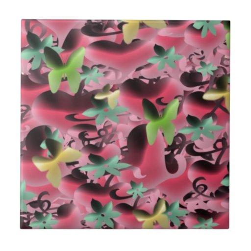 Amor y mariposas en rosa de color de malva teja