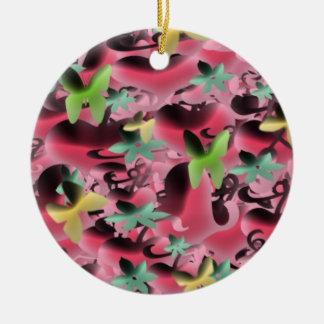 Amor y mariposas en verde rosado y vibrante ornamente de reyes