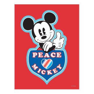 Amor y Mickey de la paz Tarjeta Postal