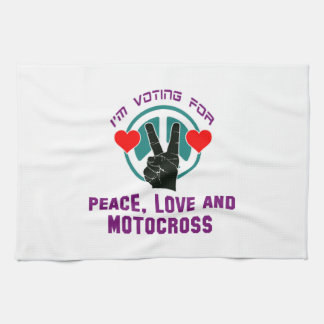 Amor y motocrós de la paz toallas de cocina
