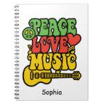 Amor y música de la paz de Rasta Libros De Apuntes Con Espiral