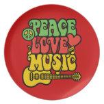 Amor y música de la paz de Rasta Platos De Comidas