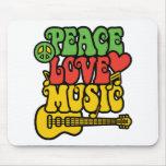 Amor y música de la paz de Rasta Alfombrillas De Ratón