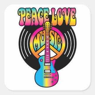 Amor y música de la paz del vinilo pegatina cuadrada