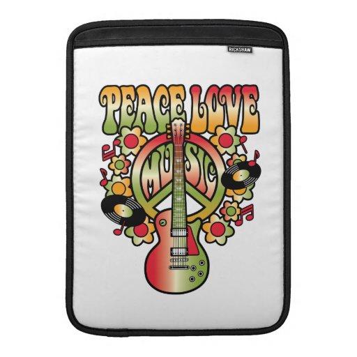 Amor y música de la paz fundas para macbook air