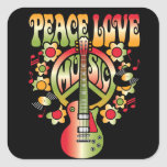 Amor y música de la paz pegatinas