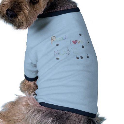 Amor y música de la paz camiseta con mangas para perro
