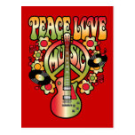 Amor y música de la paz tarjetas postales