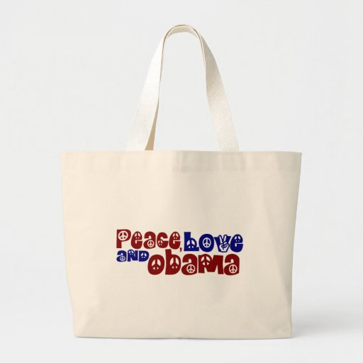 Amor y Obama de la paz Bolsa Tela Grande