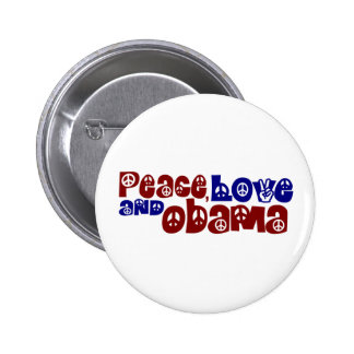 Amor y Obama de la paz Pin Redondo De 2 Pulgadas