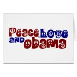 Amor y Obama de la paz Tarjeton