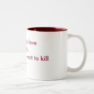 Amor y odio taza de dos tonos