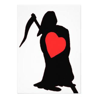 Amor y odio, vida y muerte, segador, corazón rojo  comunicados personalizados