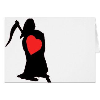 Amor y odio, vida y muerte, segador, corazón rojo  felicitación