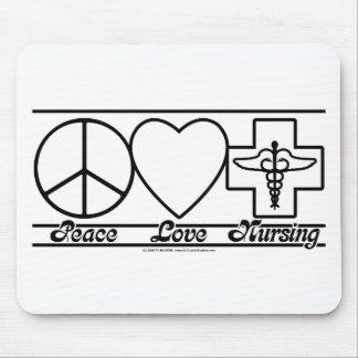 Amor y oficio de enfermera de la paz alfombrilla de ratones