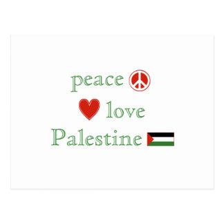 Amor y Palestina de la paz Tarjeta Postal