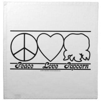 Amor y palomitas de la paz servilletas de papel