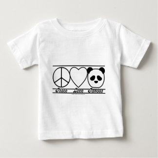Amor y pandas de la paz playeras