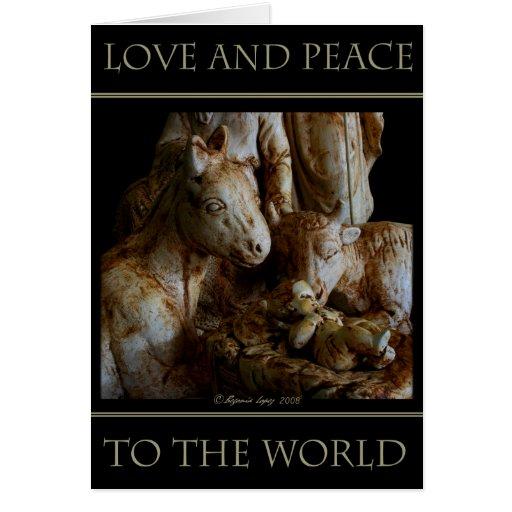 Amor y paz al mundo tarjeta de felicitación