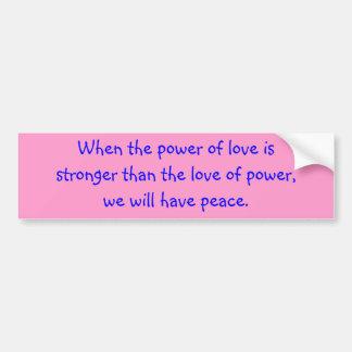 Amor y paz etiqueta de parachoque
