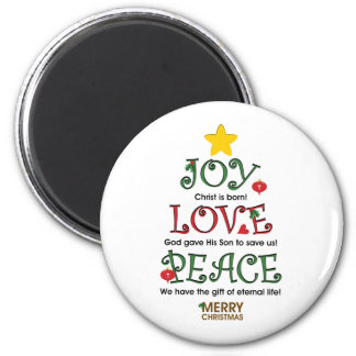 Amor y paz cristianos de la alegría del navidad iman de nevera
