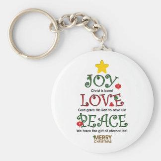 Amor y paz cristianos de la alegría del navidad llaveros