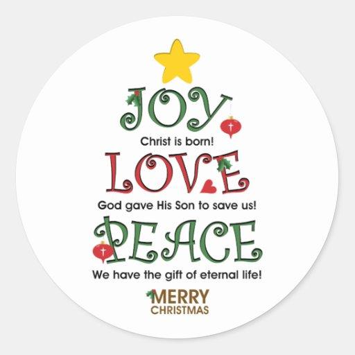 Amor y paz cristianos de la alegría del navidad pegatinas redondas