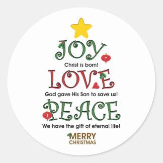Amor y paz cristianos de la alegría del navidad pegatina redonda
