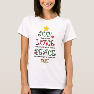 Amor y paz cristianos de la alegría del navidad playera