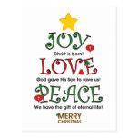 Amor y paz cristianos de la alegría del navidad tarjetas postales