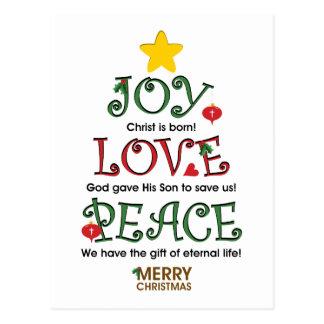 Amor y paz cristianos de la alegría del navidad tarjeta postal