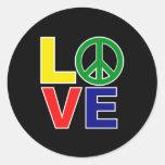 amor y paz etiquetas redondas