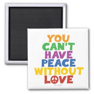 Amor y paz imán cuadrado