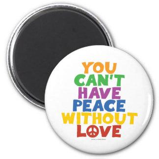Amor y paz imán redondo 5 cm