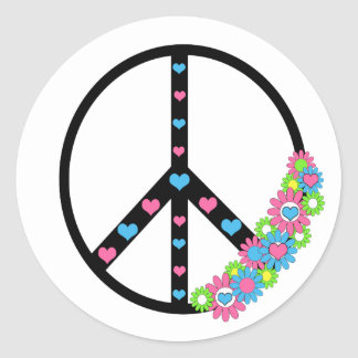 Amor y paz pegatinas redondas