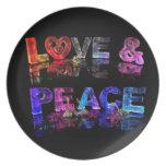 Amor y paz plato para fiesta