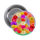 Amor y paz… y botón de las flores pin
