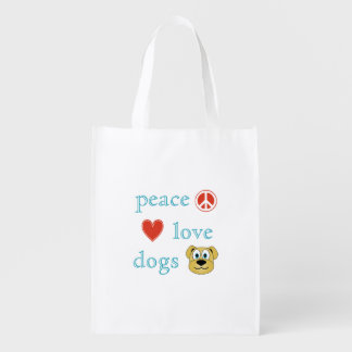 Amor y perros de la paz bolsa de la compra