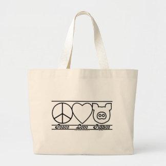 Amor y Piggies de la paz Bolsa Tela Grande