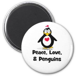 Amor y pingüinos de la paz imán redondo 5 cm