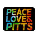Amor y pitts de la paz imán de vinilo