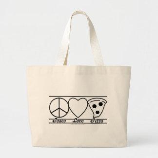 Amor y pizza de la paz bolsas de mano