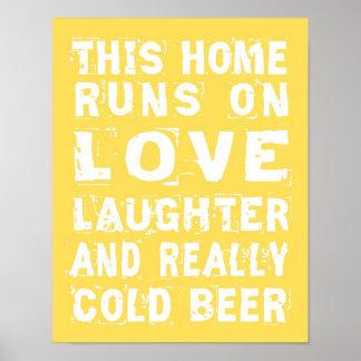 Amor y poster de la cerveza fría