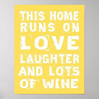 Amor y poster del vino